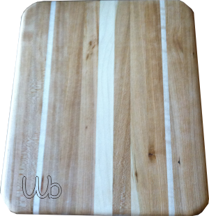 Decorative cutting board made from cherry with maple accents.