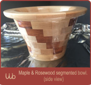 Maple and rosewood segmented bowl, side view